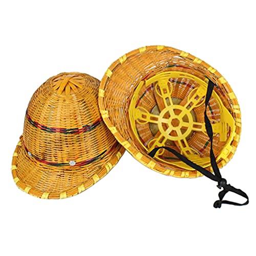 Sombrero Duro Tejido de Bambú Sombrero Para el Sol Visera Para el Sol Casco con Placa de...