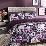 Sleepdown Inky - Funda de edredón Reversible, diseño Floral, Color Azul, algodón poliéster, Morado, Matrimonio