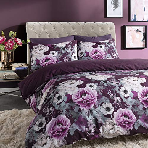 Sleepdown Inky Floral Purple Reversible Duvet Cover and Pillowcases Bedding Set (KIng)