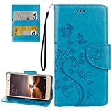 Eryanone Protective case for Xiaomi for Xiaomi Redmi 3 Pro / 3s Butterflies Love Flowers Embossing Horizontal Flip Leather Case with Holder & Card Slots & Wallet & Lanyard (Color : Blue)