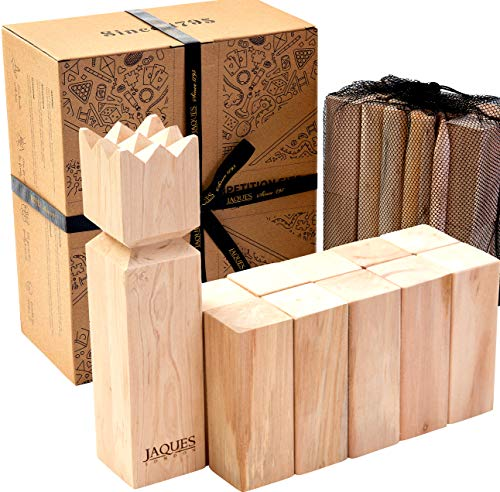 Jaques of London Wooden Kubb Outdoor Game – Regulation Size Garden Games for adults – Perfect Lawn Games