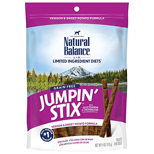 Natural Balance L.I.D. Limited Ingredient Diets Jumpin' Stix Dog Treats, Venison & Sweet Potato Formula, 4 Ounces, Grain Free