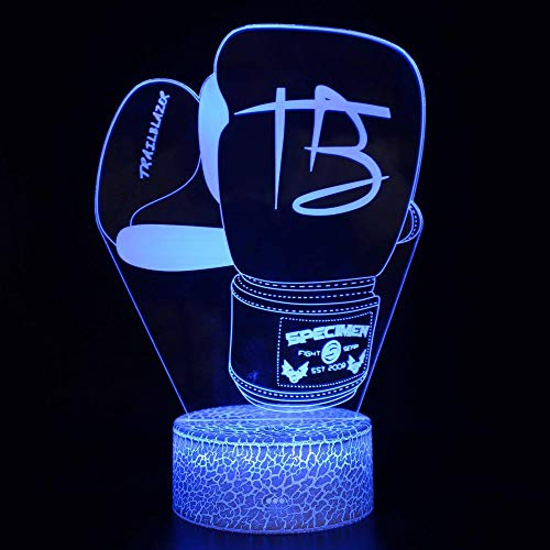 Kinder Nachtlampe 3D Nachtlicht für Jungen Mädchen Weihnachts Halloween Geburtstagsgeschenk 7 Farben Dimmbar USB Powered Touch Control Dekoration Lampe Boxhandschuhe