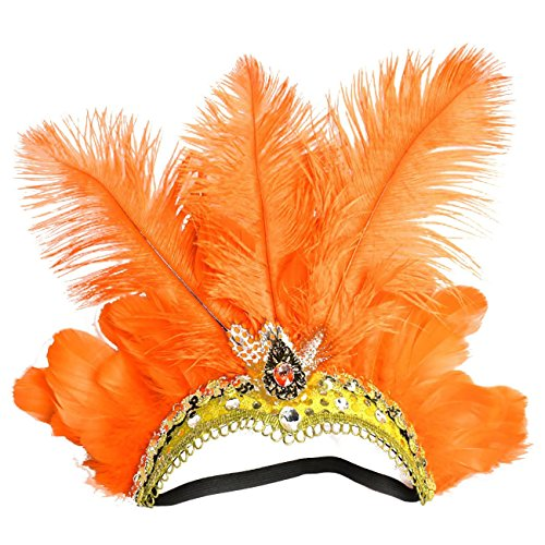Famvos Carnival Feather Headpiece Showgirl Headband, Orange, One Size