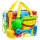 FoxPrint Beach Sand Toy Set Models & Molds, Bucket, Shovels, Rakes, Mesh Bag with Pull Strings Zippered Bag Colors May Vary