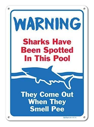 WSMsign Pool Schilder Haien haben gepunktet in diesem Pool Schild Pool Regeln Warnschilder für Gefahrenhaus, Hausdeko, Hof, Zaun Vorsicht Hinweisschilder, lustige Metallschilder 8x12