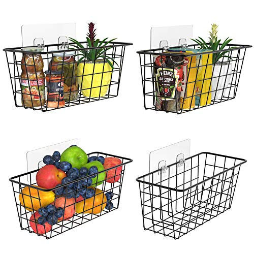 MaraFansie Wall Wire Baskets Over the Cabinet Door Organizer Hanging Basket Shelf for Cabinet Pantry Organization and Kitchen Bathroom Bedroom Storage with Adhesive 4 Pack