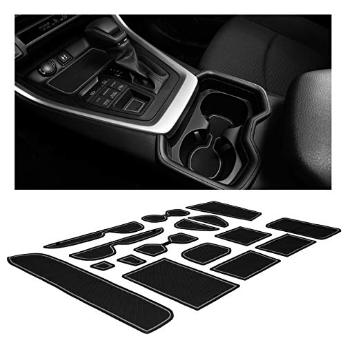 CupHolderHero Compatible with Toyota RAV4 Accessories 2019-2021 Premium Custom Interior Non-Slip Anti Dust Cup Holder Inserts, Center Console Liner Mats, Door Pocket Liners 15-pc Set (Gray Trim)