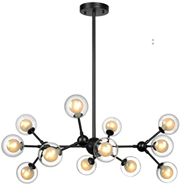 Lampundit 12 Light DNA Chandelier LED Lighting with 12 G9 Bulb, Modern Chandelier with Globe Glass Shade, Industrial Modern C