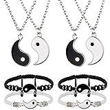8 Pieces Yin Yang Pendant Necklace and Friend BraceletsYin Yang Adjustable Cord Bracelet for BFF Friendship Relationship GirlfriendValentine's Day Birthday