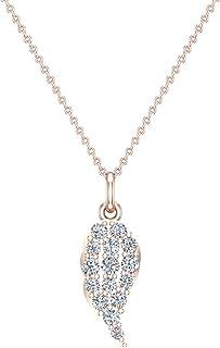 Collana con ciondolo di diamanti con ali d'angelo per donna, ciondolo in oro 18 carati (G, SI)