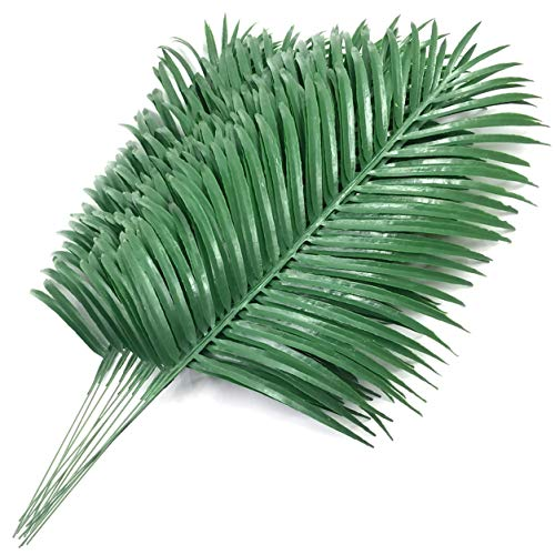 SLanC 12 Pack Artificial Palm Plants Leaves Faux Fake Tropical Large Palm Tree Leaves Imitation Leaf Artificial Plants for Home Kitchen Party Flowers Arrangement Wedding Decorations