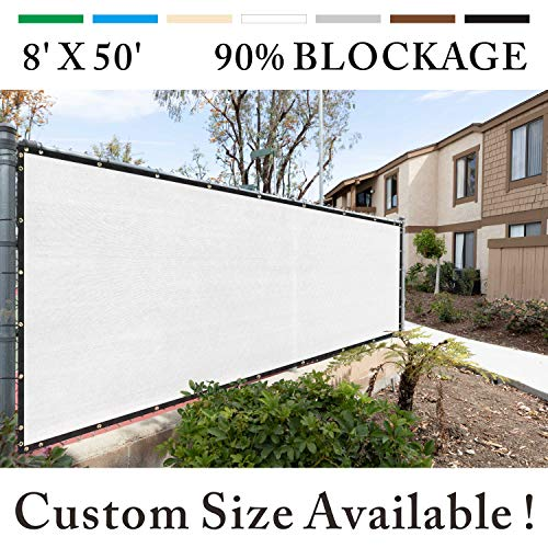 Royal Shade 8' x 50' White Fence Privacy Screen Windscreen Cover Netting Mesh Fabric Cloth - Get Your Privacy Today, Stop Neighbor Seeing-Through Stop Dogs Barking Protect Property WE MAKE CUSTOM SIZE