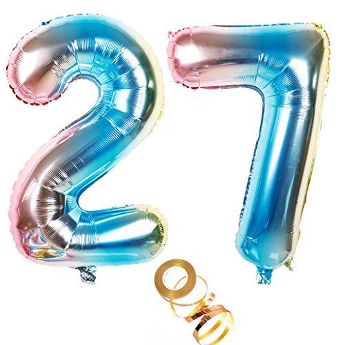 Globos de aire de 40 pulgadas, número 27 en arco iris para niñas, decoración de cumpleaños, número 27, globos de helio, número de globos con números, tamaño XXL, 100 cm, decoración para bodas