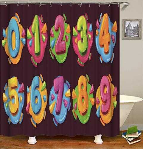Bunte Zahlen Auf Donuts.Haus Dekoration. Duschvorhang. 180X180 cm. 3D Hd Druck. Wasserdicht. Einfach Zu Säubern. Enthält 12 Haken.