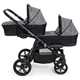Carro gemelar 3en1 BBtwin Onyx Tandem desde nacimiento hasta los 3 años cochecito doble trio (negro+blanco)