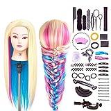 SIGHTLING 26' Têtes d'exercice Têtes à Coiffer Coiffure Cosmétologie Pratique Mannequin Poupée 100% de Cheveux Synthétiques+ Titulaire & Hairdressing Outils Accessoires Set