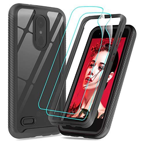 LG Tribute Empire Case, LG Aristo 3 Phone Case, LG Rebel 4 LTE/Aristo 2/Fortune 2/Tribute Dynasty/Zone 4/Aristo 2 Plus Case with Screen Protector,LeYi Full-Body Rugged Hybrid Bumper Clear Cover, Black