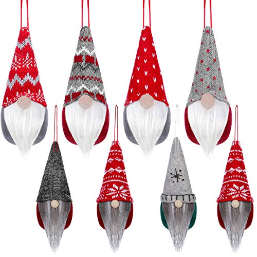 8 Pieces Scandinavian Santa Gnome Ornaments Christmas Swedish Gnome Ornaments Christmas Tree Hanging Plush Gnomes Handmade Elf Swedish Hanging Decorations for Christmas Home Holiday Party Decor