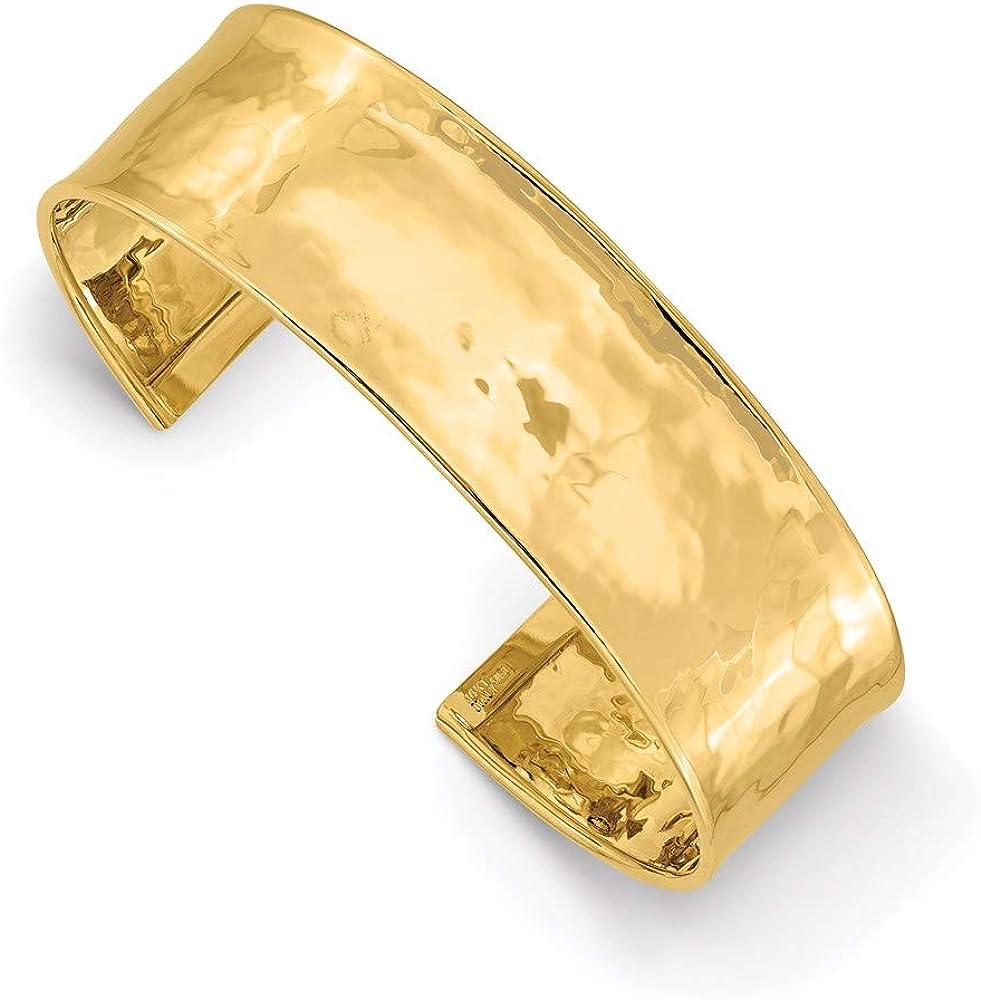 Bracelet 14K Yellow Gold bracelet Cuff Hammered 21 mm 19mm Lightly Polished Bangle