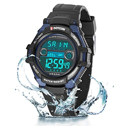 Relojes de Pulsera Electrónicos para Niños Niños Digital Relojes Deportes–5 ATM Reloj Deportivo Impermeable al Aire Libre con Alarma Cronómetro Luces de Colores de Fondo (Negro Azul)