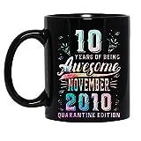 N\A 10 Anni di Essere Fantastici Novembre 2010 Edizione Quarantena 10 ° Compleanno Distanziatore Sociale Tazza in Ceramica Tazze da caffè grafiche Tazze Nere Top da tè novità Personalizzata 11 Oz