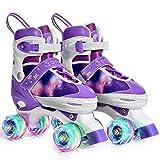 Gonex Adjustable Roller Skates (Size 31-42) Breathable and Comfortable Quad Roller Skates with Lighted Wheels for Beginners Girls Women Kids