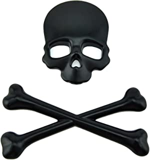 T Tocas Black Motorcycle Skull Bone Emblem Metal Decal 3D Sticker for Vehicle/Motorcycle/Boat/Cruisers/Chopper