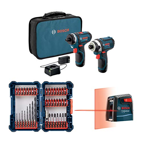 Bosch CLPK27-120 12V Max 2-Tool Combo Bundle with Laser Level GLL 30 and 40-Piece Drill Driver Set (3 Items)