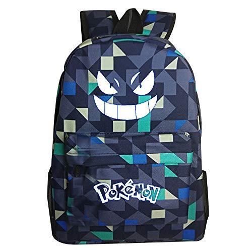 Yukijiaojiao Pokemon Backpack, Pokemon Bag for Boys and Girls, Pokemon Rucksack with Luminous Eyes Kids School Bag Travel Bag
