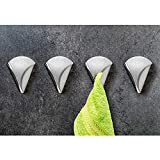 Tatkraft EVA Set de 4 Colgadores de Toallas Adhesivos hasta 2 kg, Acero Inoxidable