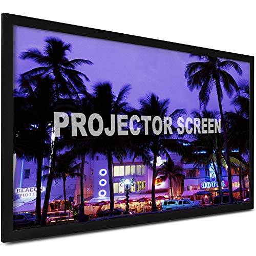 VEVOR 125 Inch Diagonal 16:9 Projector Screen Portable HD Projector Movies Screen Anti-Crease Fixed Frame Outdoor Projector Screen for Home Theater Cinema,Outdoor Indoor