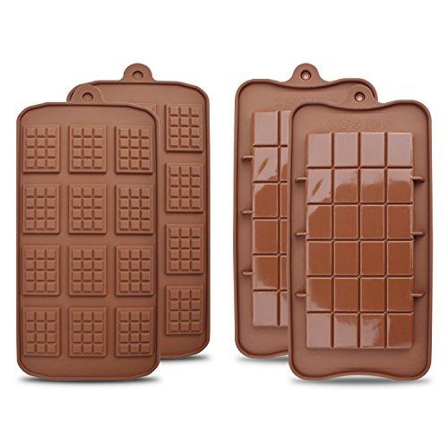 HomEdge - Set di 4 stampi per cioccolato, antiaderenti per uso alimentare, per proteine e barrette energetiche