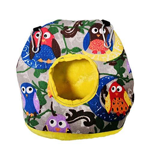 pinghub Jaulas para Agapornis Cama Hamster Aves de la Hamaca Colgante de pájaro casa Pájaro Suministros Jaula para Mascotas Hamaca Cálido Nido de Pájaro Owl,L