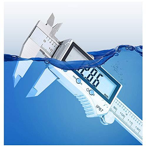 0-300mm Calibre Digital Inoxidable, Bluetooth Pie de Rey Digital Profesional, Pantalla Electrónica LCD de Acero Inoxidable, Impermeable IP67, ± 0.03mm Gran pantalla LCD Medida Calibre