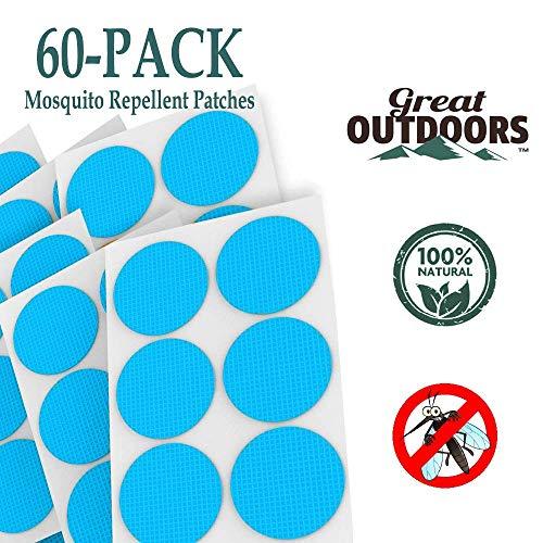 GREAT OUTDOORS Cerotti Repellenti Naturali per Zanzare, Protezione dagli Insetti fino a 24 ore, Senza DEET, Protezione da Insetti per Bambini e Adulti, Pacchetto da 60 (60-Pack, Blue)