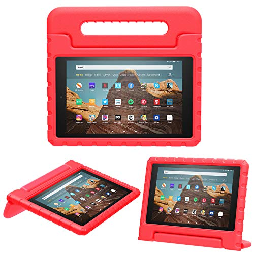 MoKo Case for Fire HD 10 Tablet (5th/7th/9th Generation, 2015/2017/2019 Release), Kids Shock Proof Convertible Handle Light Weight Super Protective Stand Cover Case for Fire HD 10.1 Inch, RED