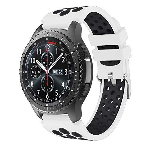 Syxinn Compatible con Correa de Reloj Gear S3 Frontier/Classic/Galaxy Watch 46mm/Galaxy Watch 3 45mm Banda de Silicona Suave Deportiva Pulsera para Huawei Watch GT 2 46mm/GT 2e/Moto 360 2nd Ge