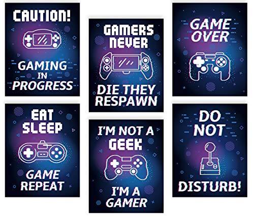 6er Set Gaming Poster,Bilder für Gamer,Videospiel Wandbild,Game Leinwand Wandkunst für Jungen Teenager Schlafzimmer Spielzimmer Kinderzimmer Geschenk Dekor,Lustige Zitate Bilder (8