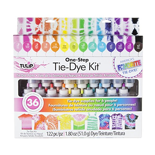 Tulip One-Step Tie-Dye Kit Party Supplies, 18 Bottles Tie Dye, Rainbow