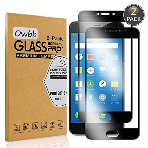 Owbb [2 Stück] Schwarz Gehärtetes Glas Display schutzfolie Für Meizu M3 Note/Meizu Note3 Full Coverage Schutz 99% High Transparent Explosionsgeschützter Film