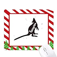 カンガルーの黒と白の動物 ゴムクリスマスキャンディマウスパッド