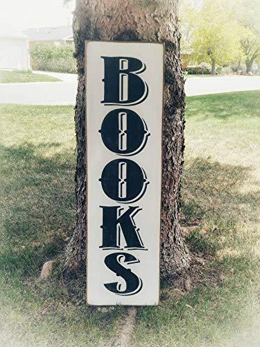 Yilooom Bookworm Geschenke, Holzbücherschild, Bücherwurm-Wandkunst, vertikales Holzschild, Heim-Bibliothek-Dekor, Bibliothek-Wandkunst, Holz-Bibliothek, Buchliebhaber