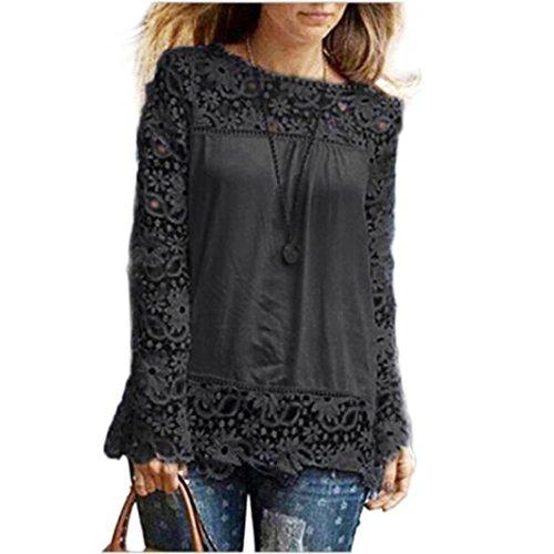 MORCHAN Chemise à Manches Longues pour Femmes Fashion Casual Blouse en Dentelle Tops en Coton lâche T-Shirt(FR-46/CN-XXXXL,Noir)