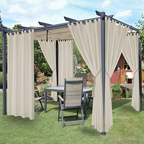 LORDTEX Waterproof Indoor/Outdoor Curtains for Patio - Thermal Insulated, Sun Blocking Detachable Sticky Tab Top Blackout Curtains for Bedroom, Porch, Pergola, Cabana, 52 x 84 inch, 2 Panels, Vanilla