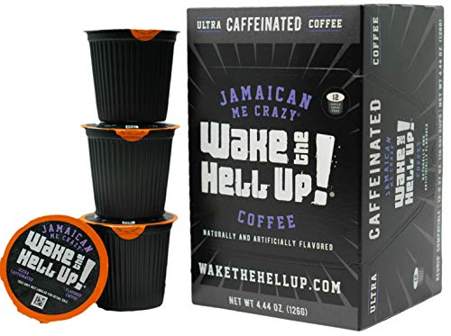 Wake The Hell Up! Jamaican Me Crazy® Flavored Single Serve Coffee Pods Of Ultra-Caffeinated Coffee For K-Cup Compatible Brewers | 12 Count, 2.0 Compatible Pods | Perfect Balance of High Caffeine & Great Flavor.