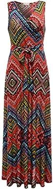 Aphratti Women's Bohemian Sleeveless V Neck Faux Wrap Long Floral Maxi Dress