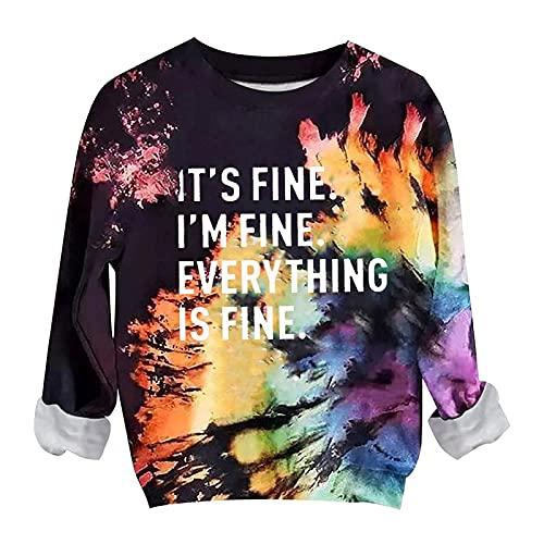 Tie Dye Shirt Women Vintage Letter Print Crewneck Sweatshirts Fall Long Sleeve Funny Halloween Pullover Tops