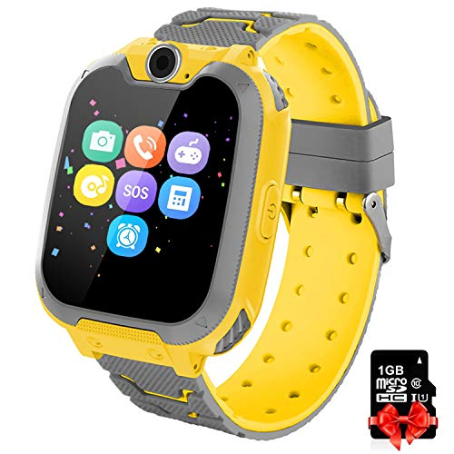 Bambini Game Smartwatch- Music Orologio Smart Phone con SIM Card Camera 7 tipi di giochi Touch Screen Learning Giocattoli Regali di Ragazzi e Ragazze Compleanno -Include scheda SD da 1 GB, Giallo
