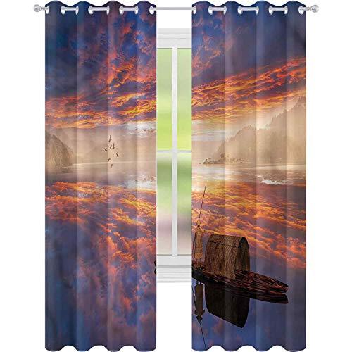 jinguizi Cortina opaca para ventana fantastico hombre en Imagine Ship W52 x L63 para decoración de niños cortinas personalizadas